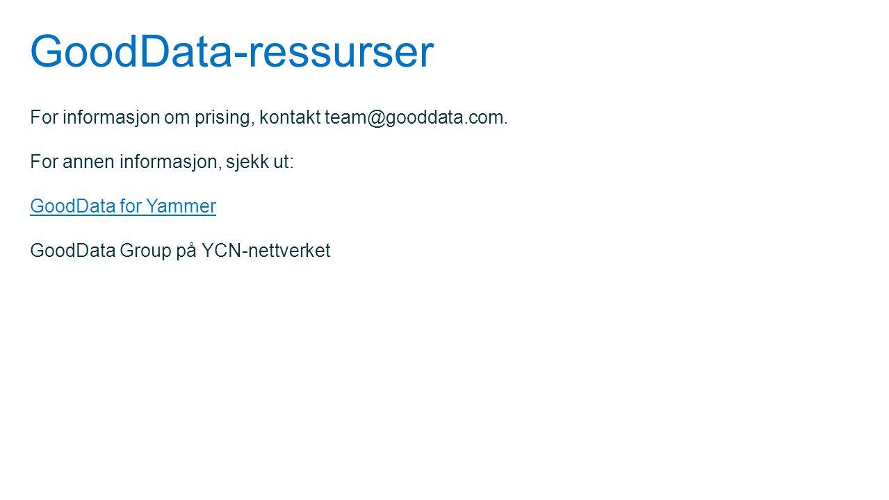 GoodData-ressurser For informasjon om prising, kontakt team@gooddata.com. For annen informasjon, sjekk ut: GoodData for Yammer GoodData Group på YCN-n