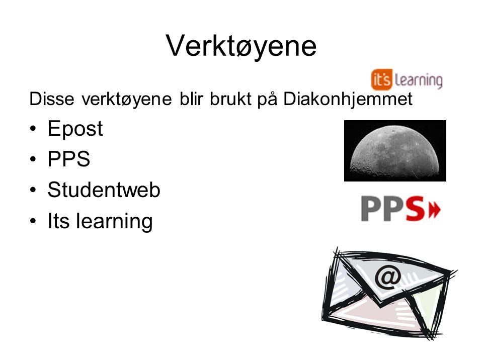 Verktøyene Disse verktøyene blir brukt på Diakonhjemmet •Epost •PPS •Studentweb •Its learning