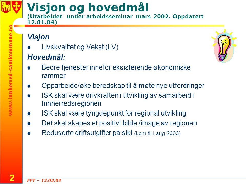 FFT – 13.02.04 www.innherred-samkommune.no 2 Visjon og hovedmål (Utarbeidet under arbeidsseminar mars 2002.