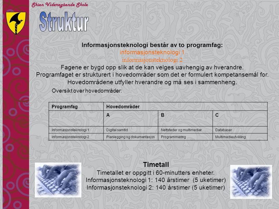 Databaser •gjøre rede for begrepene primærnøkkel, kandidatnøkkel, fremmednøkkel og atomærkravet •utvikle normaliserte datamodeller ut fra problemstillinger og begrunne valgene som er gjort •lage databaser i henhold til gitte datamodeller •utvikle, presentere og begrunne databaseapplikasjoner •lage dynamiske nettsider som bruker en database ved hjelp av spørrespråk og programvare på tjener Mål for opplæringen er at eleven skal kunne Informasjonsteknologi 1C
