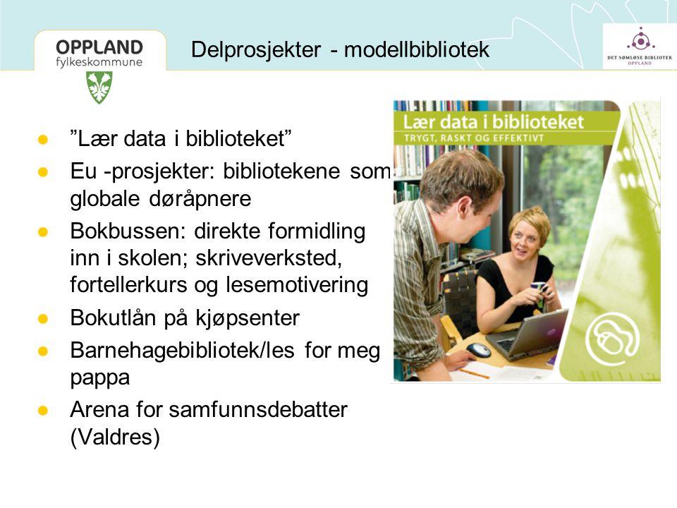 """●""""Lær data i biblioteket"""" ●Eu -prosjekter: bibliotekene som globale døråpnere ●Bokbussen: direkte formidling inn i skolen; skriveverksted, fortellerku"""