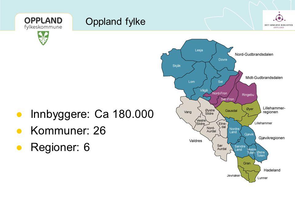 Oppland fylke ●Innbyggere: Ca 180.000 ●Kommuner: 26 ●Regioner: 6