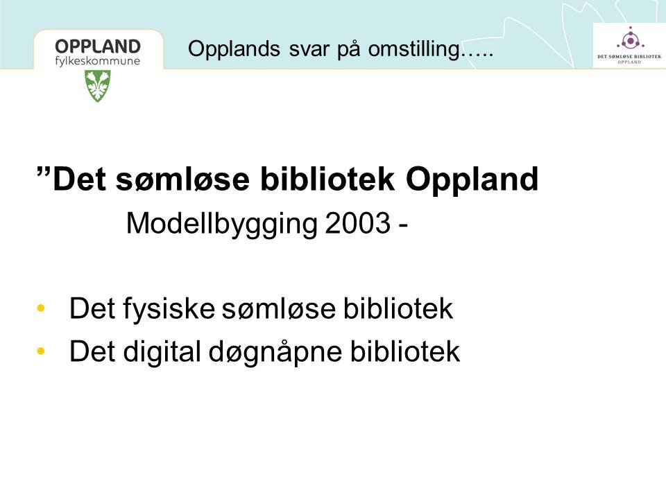 """Opplands svar på omstilling….. """"Det sømløse bibliotek Oppland Modellbygging 2003 - •Det fysiske sømløse bibliotek •Det digital døgnåpne bibliotek"""
