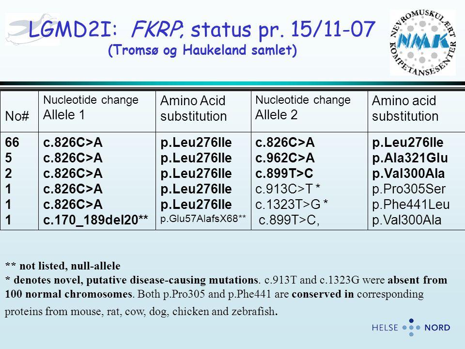 . p.Leu276Ile p.Ala321Glu p.Val300Ala p.Pro305Ser p.Phe441Leu p.Val300Ala c.826C>A c.962C>A c.899T>C c.913C>T * c.1323T>G * c.899T>C, p.Leu276Ile p.Gl