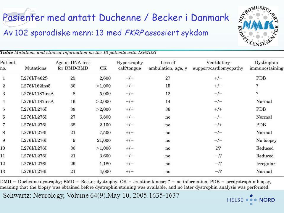 Schwartz: Neurology, Volume 64(9).May 10, 2005.1635-1637 Pasienter med antatt Duchenne / Becker i Danmark Av 102 sporadiske menn: 13 med FKRP assosier