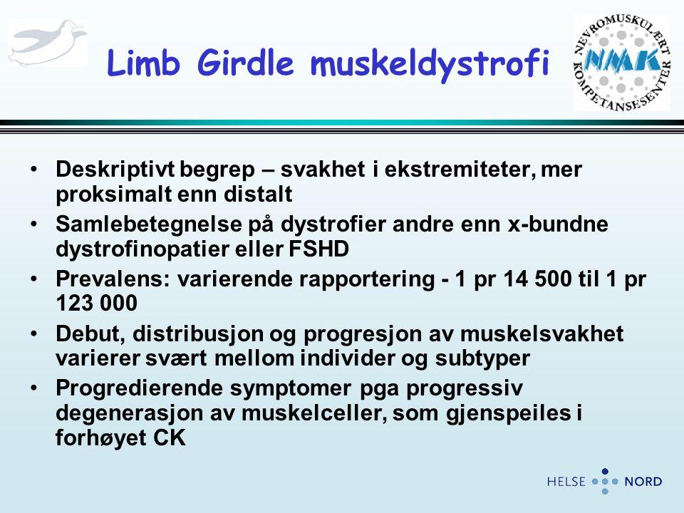 Limb Girdle muskeldystrofi •Deskriptivt begrep – svakhet i ekstremiteter, mer proksimalt enn distalt •Samlebetegnelse på dystrofier andre enn x-bundne