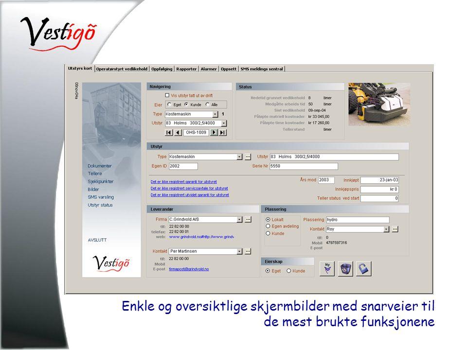 Enkle og oversiktlige skjermbilder med snarveier til de mest brukte funksjonene