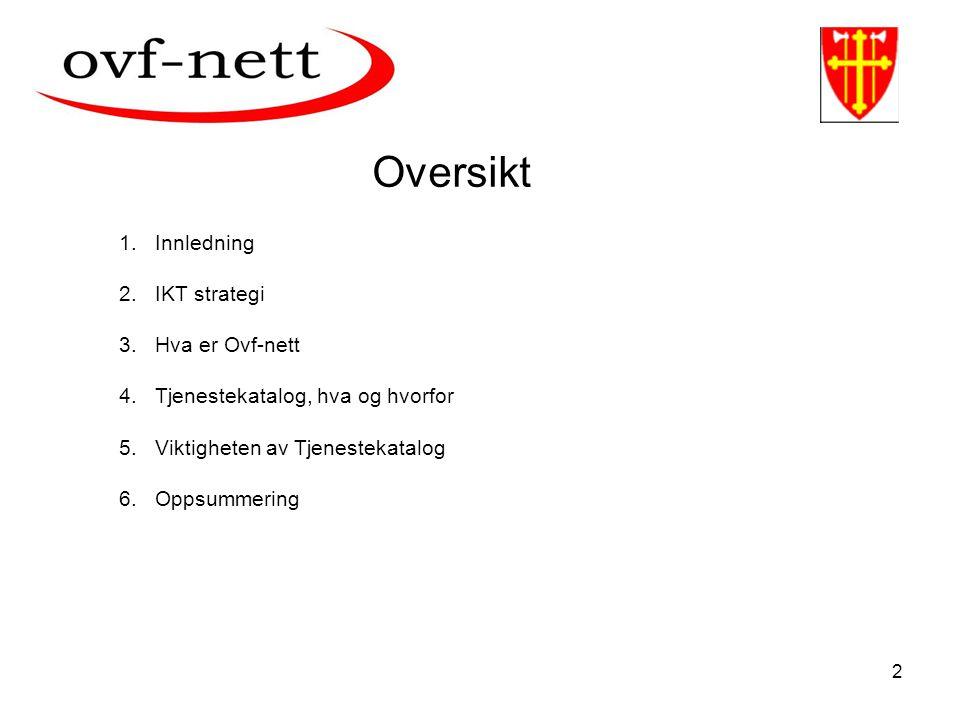 2 1.Innledning 2.IKT strategi 3.Hva er Ovf-nett 4.Tjenestekatalog, hva og hvorfor 5.Viktigheten av Tjenestekatalog 6.Oppsummering Oversikt