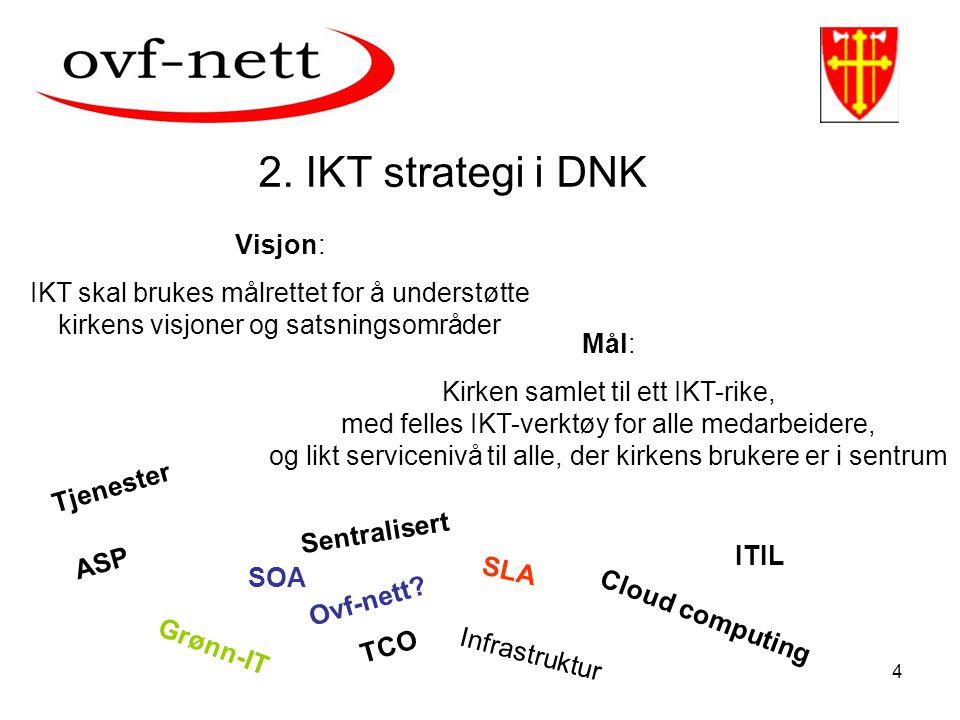 4 2. IKT strategi i DNK Visjon: IKT skal brukes målrettet for å understøtte kirkens visjoner og satsningsområder Mål: Kirken samlet til ett IKT-rike,