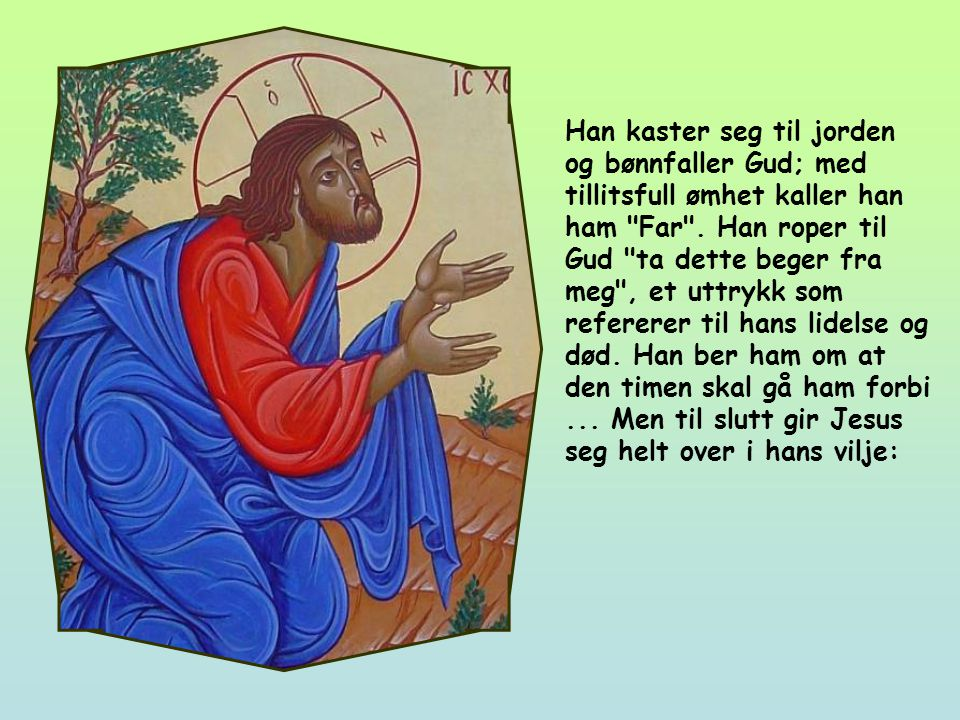 Jesus er i olivenhagen, som ble kalt Getsemane.