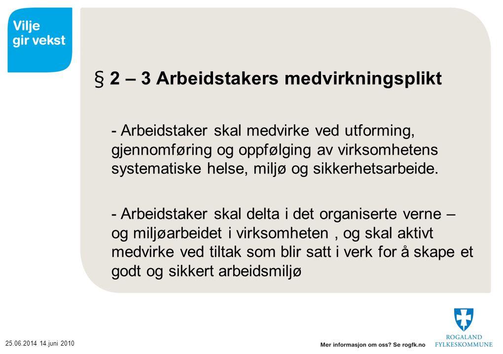 25.06.201414.juni 2010 § 2 – 3 Arbeidstakers medvirkningsplikt - Arbeidstaker skal medvirke ved utforming, gjennomføring og oppfølging av virksomheten