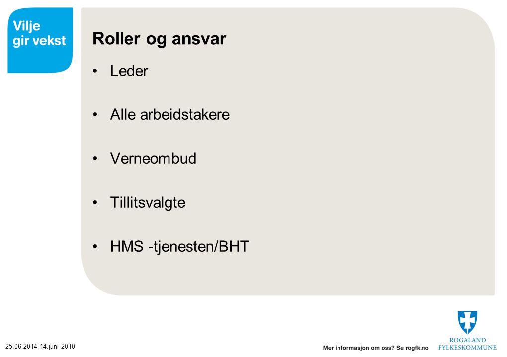 25.06.201414.juni 2010 Roller og ansvar •Leder •Alle arbeidstakere •Verneombud •Tillitsvalgte •HMS -tjenesten/BHT