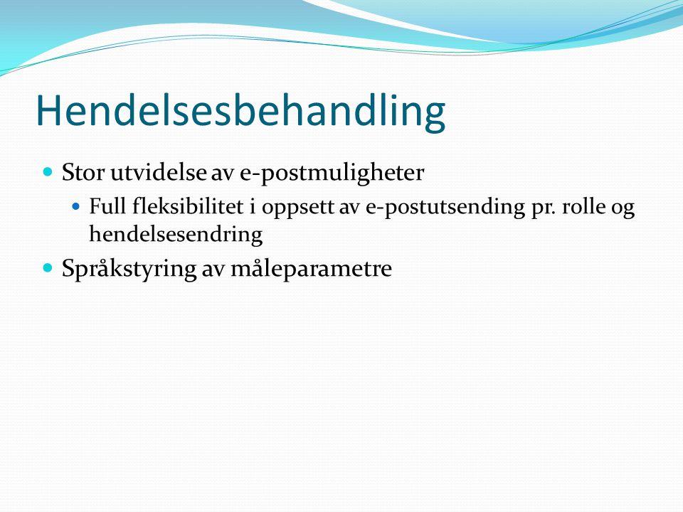Hendelsesbehandling  Stor utvidelse av e-postmuligheter  Full fleksibilitet i oppsett av e-postutsending pr. rolle og hendelsesendring  Språkstyrin