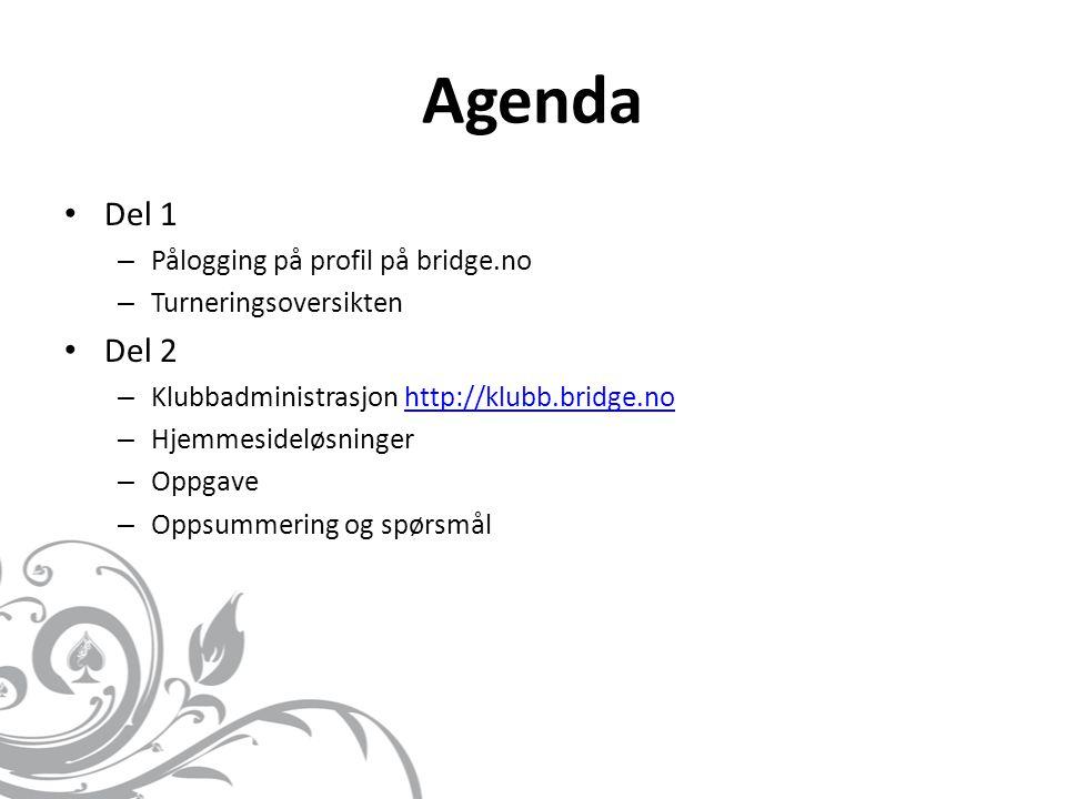 Agenda • Del 1 – Pålogging på profil på bridge.no – Turneringsoversikten • Del 2 – Klubbadministrasjon http://klubb.bridge.nohttp://klubb.bridge.no – Hjemmesideløsninger – Oppgave – Oppsummering og spørsmål