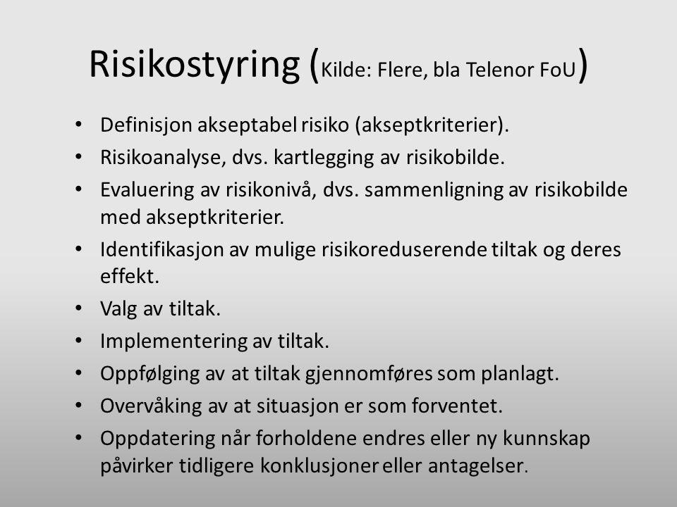 Risikostyring ( Kilde: Flere, bla Telenor FoU ) • Definisjon akseptabel risiko (akseptkriterier). • Risikoanalyse, dvs. kartlegging av risikobilde. •
