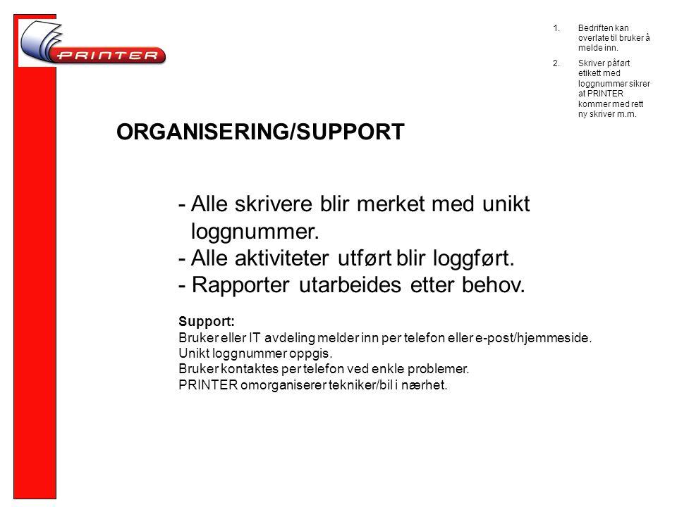 ORGANISERING/SUPPORT - Alle skrivere blir merket med unikt loggnummer.