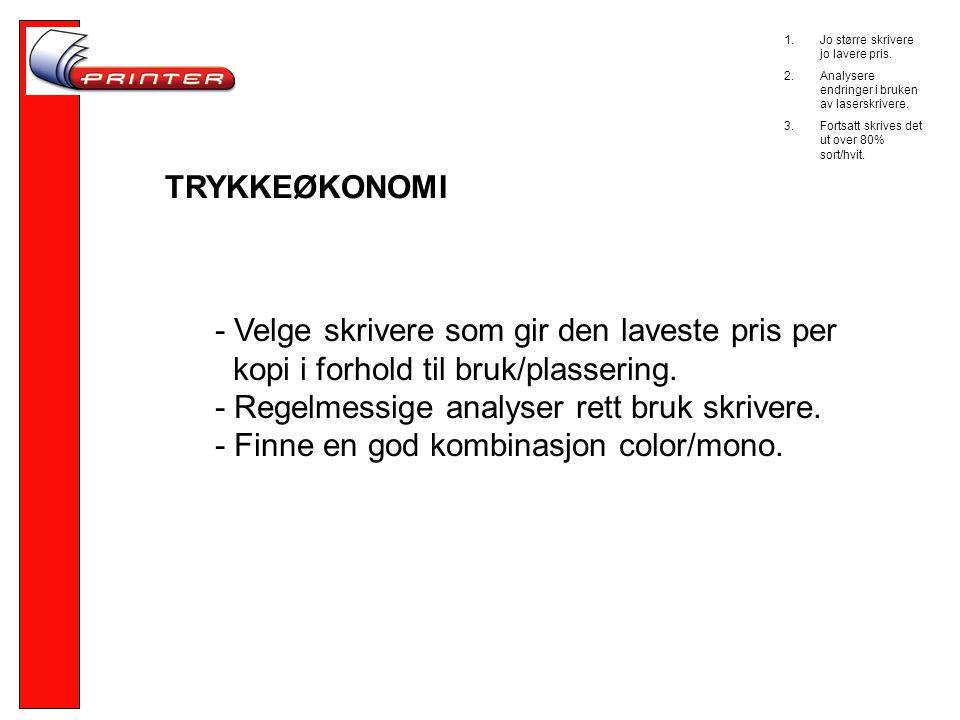 TRYKKEØKONOMI - Velge skrivere som gir den laveste pris per kopi i forhold til bruk/plassering.