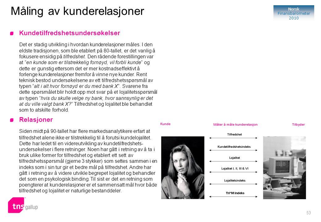 53 Norsk Finansbarometer 2010 Måling av kunderelasjoner Kundetilfredshetsundersøkelser Det er stadig utvikling i hvordan kunderelasjoner måles. I den