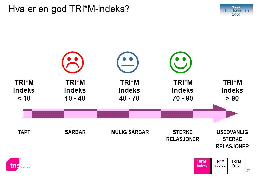 57 Norsk Finansbarometer 2010 SÅRBAR TRI*M Indeks 10 - 40 TAPT TRI*M Indeks < 10 STERKE RELASJONER TRI*M Indeks 70 - 90 USEDVANLIG STERKE RELASJONER T
