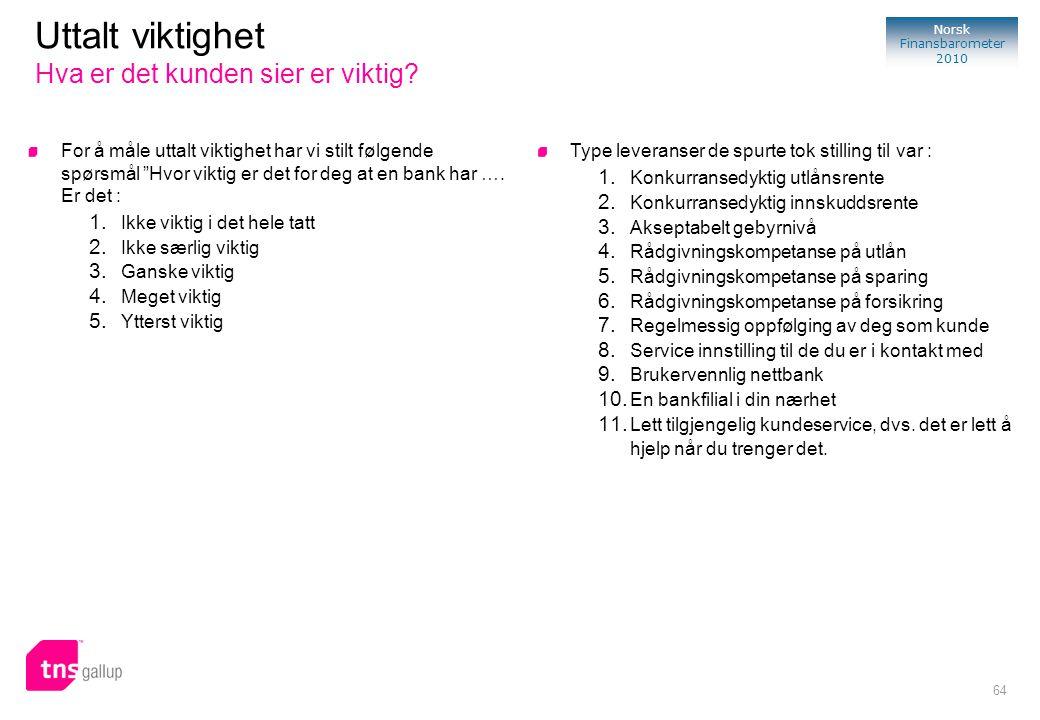 """64 Norsk Finansbarometer 2010 For å måle uttalt viktighet har vi stilt følgende spørsmål """"Hvor viktig er det for deg at en bank har …. Er det : 1. Ikk"""
