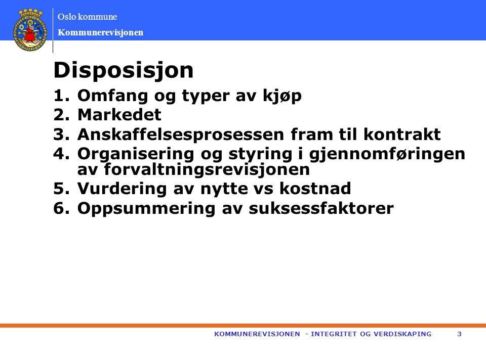 Oslo kommune Kommunerevisjonen 1.Omfang og typer av kjøp 2.Markedet 3.Anskaffelsesprosessen fram til kontrakt 4.Organisering og styring i gjennomføringen av forvaltningsrevisjonen 5.Vurdering av nytte vs kostnad 6.Oppsummering av suksessfaktorer KOMMUNEREVISJONEN - INTEGRITET OG VERDISKAPING3 Disposisjon