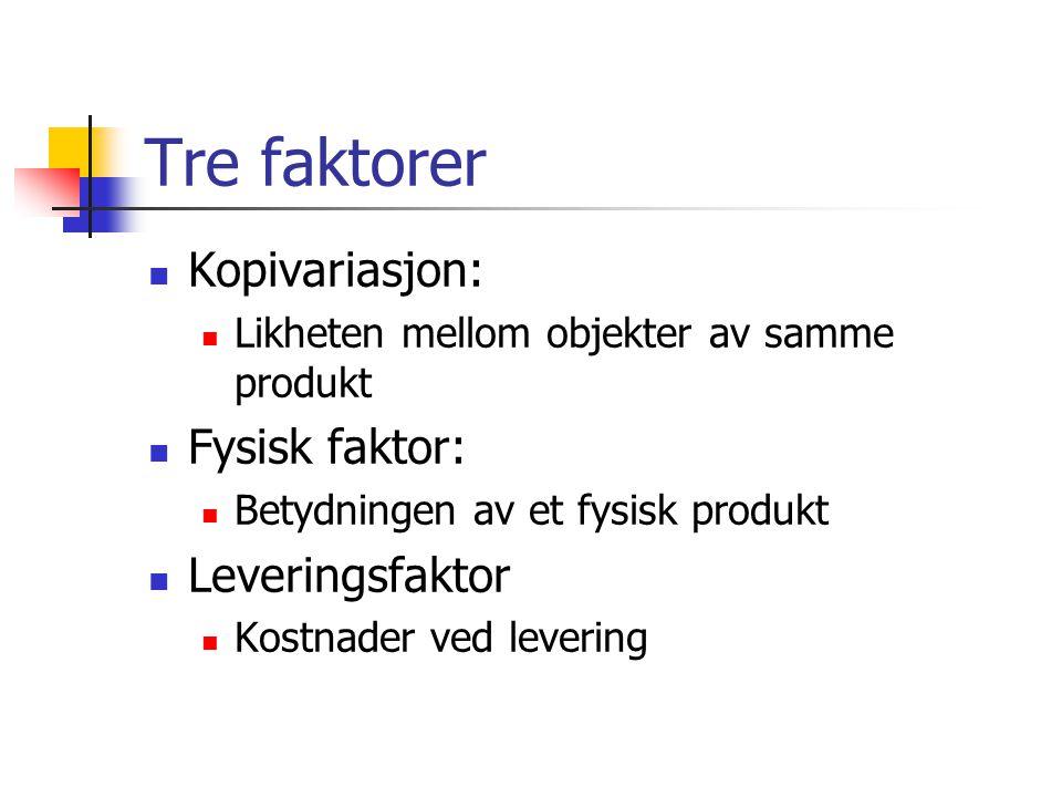 Tre faktorer  Kopivariasjon:  Likheten mellom objekter av samme produkt  Fysisk faktor:  Betydningen av et fysisk produkt  Leveringsfaktor  Kostnader ved levering