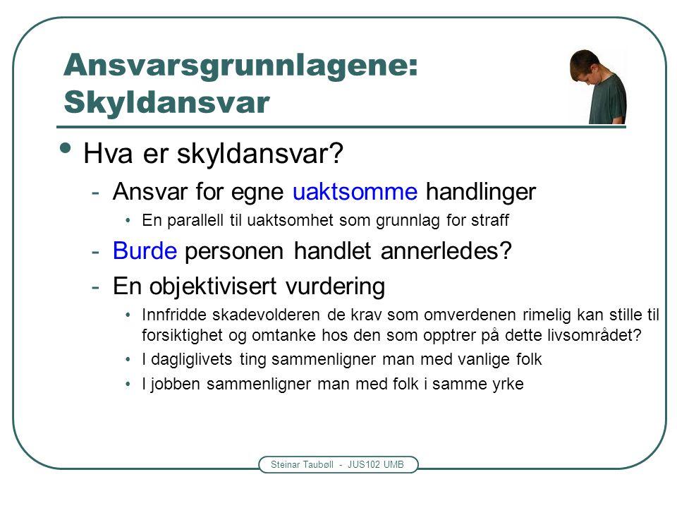 Steinar Taubøll - JUS102 UMB Ansvarsgrunnlagene: Skyldansvar • Hva er skyldansvar? -Ansvar for egne uaktsomme handlinger •En parallell til uaktsomhet