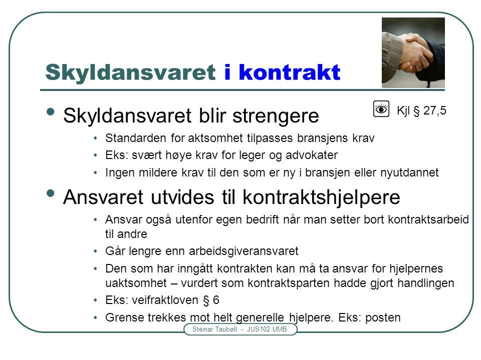 Steinar Taubøll - JUS102 UMB Skyldansvaret i kontrakt • Skyldansvaret blir strengere •Standarden for aktsomhet tilpasses bransjens krav •Eks: svært hø