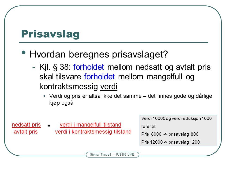 Steinar Taubøll - JUS102 UMB Prisavslag • Hvordan beregnes prisavslaget? -Kjl. § 38: forholdet mellom nedsatt og avtalt pris skal tilsvare forholdet m
