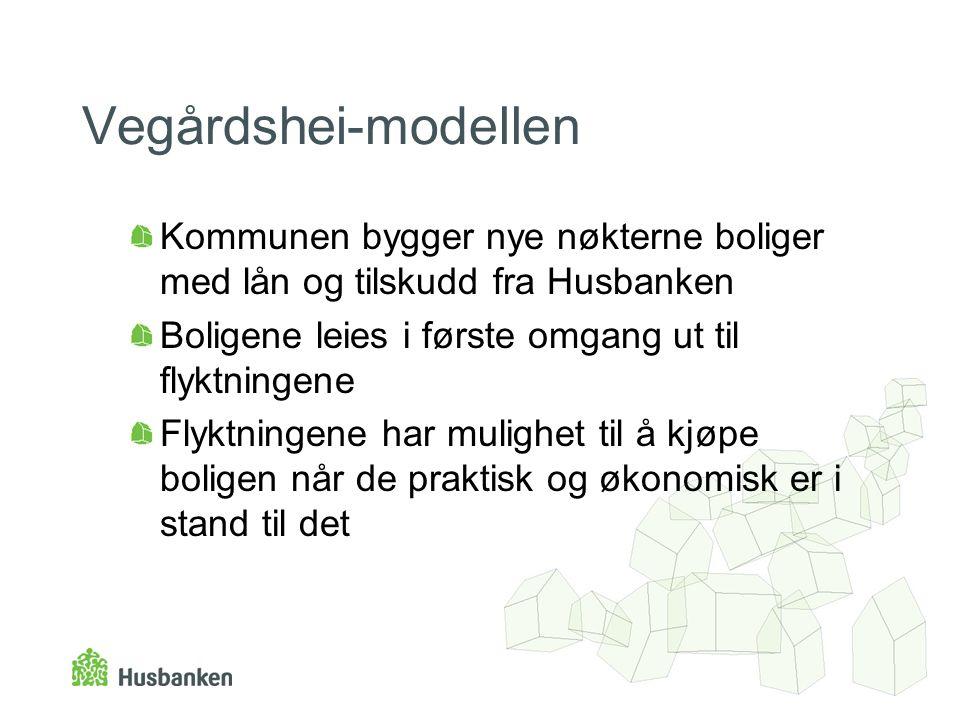 Vegårdshei-modellen Kommunen bygger nye nøkterne boliger med lån og tilskudd fra Husbanken Boligene leies i første omgang ut til flyktningene Flyktnin