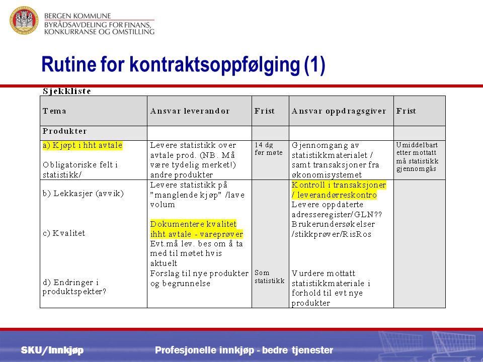 SKU/Innkjøp Profesjonelle innkjøp - bedre tjenester Rutine for kontraktsoppfølging (1)