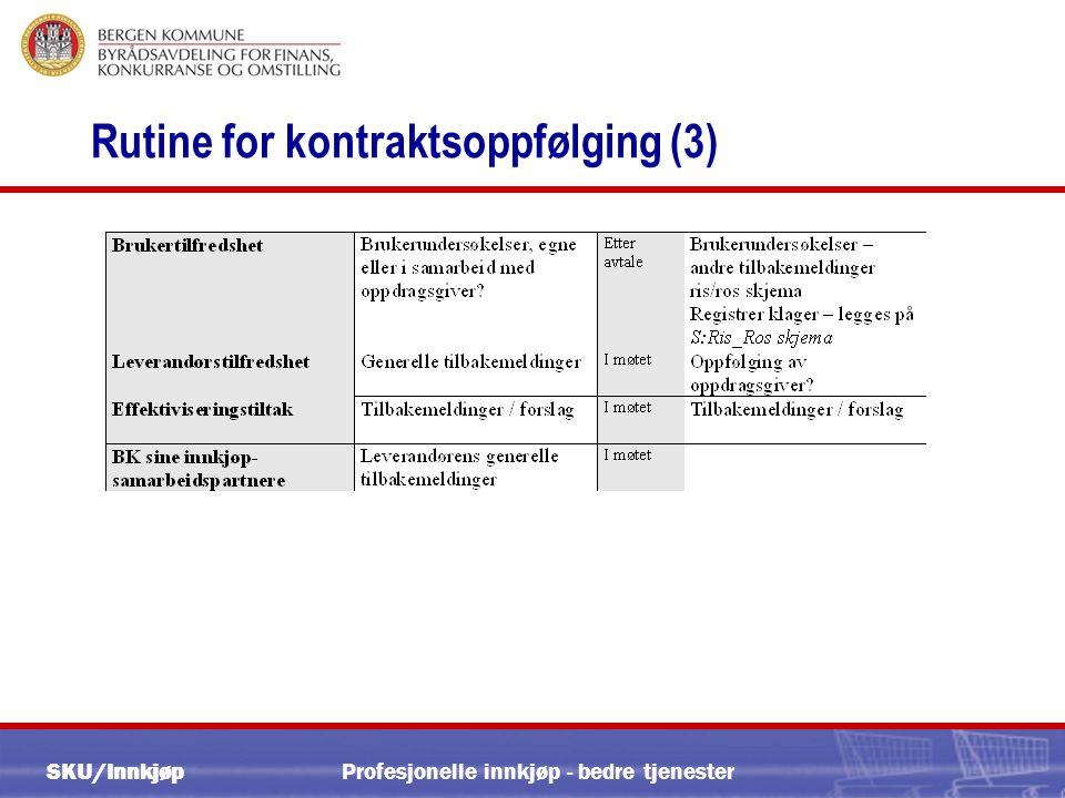 SKU/Innkjøp Profesjonelle innkjøp - bedre tjenester Rutine for kontraktsoppfølging (3)