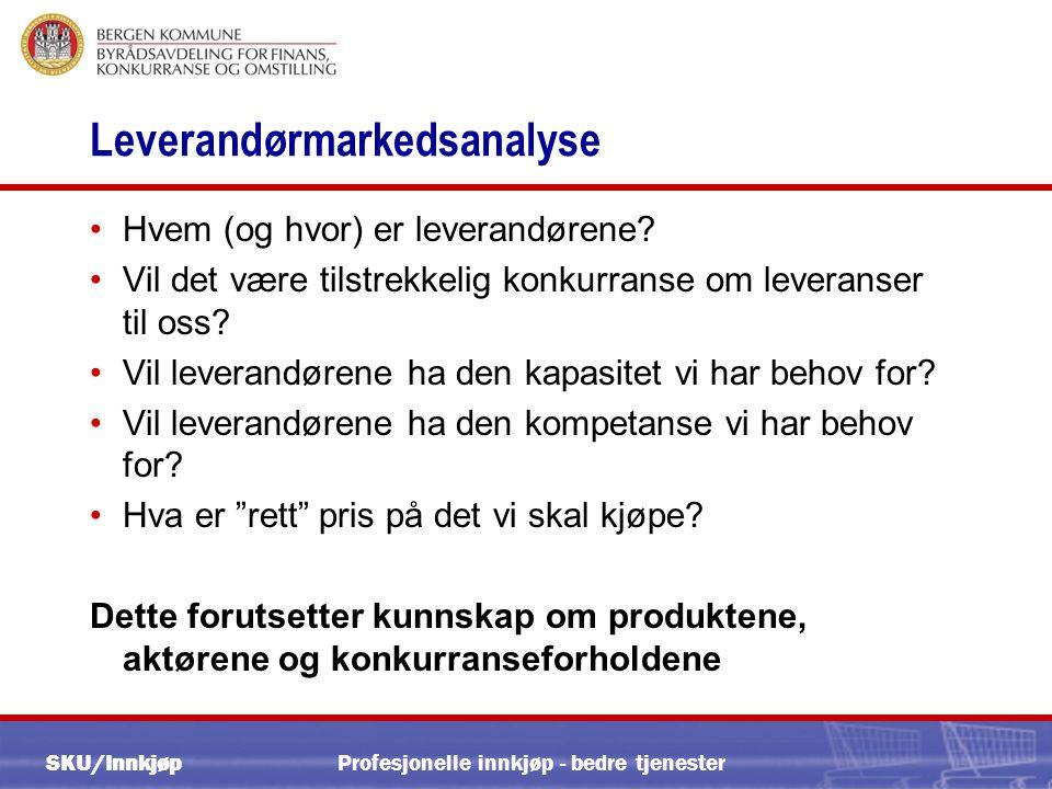 SKU/Innkjøp Profesjonelle innkjøp - bedre tjenester Leverandørmarkedsanalyse •Hvem (og hvor) er leverandørene.