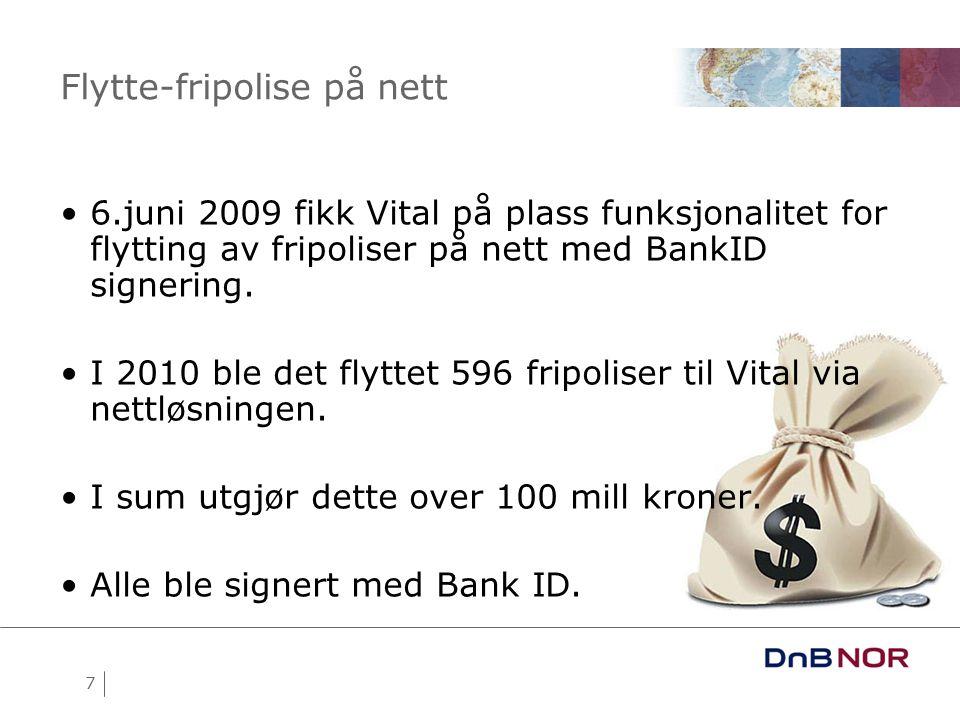 7 Flytte-fripolise på nett •6.juni 2009 fikk Vital på plass funksjonalitet for flytting av fripoliser på nett med BankID signering.