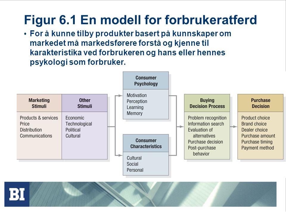 Figur 6.1 En modell for forbrukeratferd • For å kunne tilby produkter basert på kunnskaper om markedet må markedsførere forstå og kjenne til karakteri