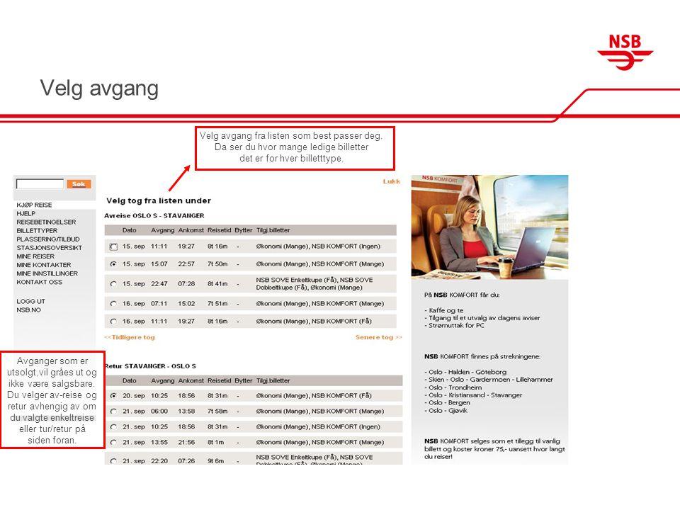 Velg rabatt og plasskategori På denne siden velger du rabattype for den/de reisende.