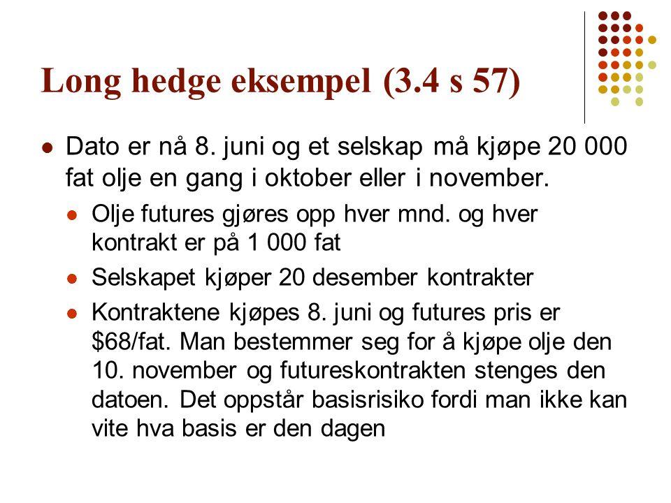 Long hedge eksempel (3.4 s 57)  Dato er nå 8. juni og et selskap må kjøpe 20 000 fat olje en gang i oktober eller i november.  Olje futures gjøres o