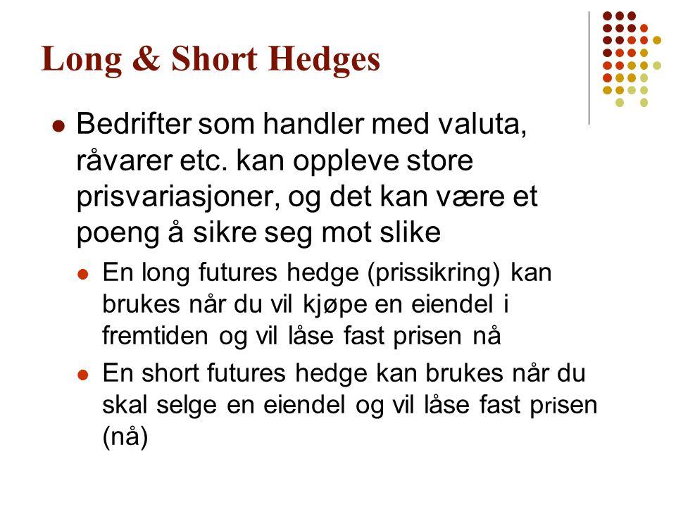 Long & Short Hedges  Bedrifter som handler med valuta, råvarer etc. kan oppleve store prisvariasjoner, og det kan være et poeng å sikre seg mot slike
