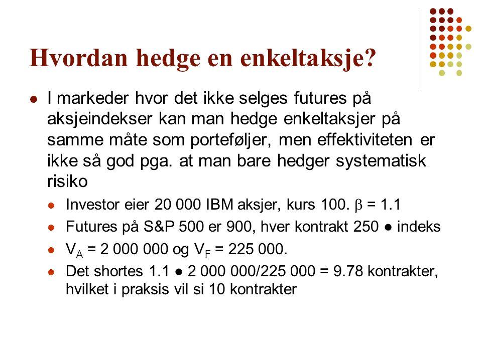 Hvordan hedge en enkeltaksje?  I markeder hvor det ikke selges futures på aksjeindekser kan man hedge enkeltaksjer på samme måte som porteføljer, men