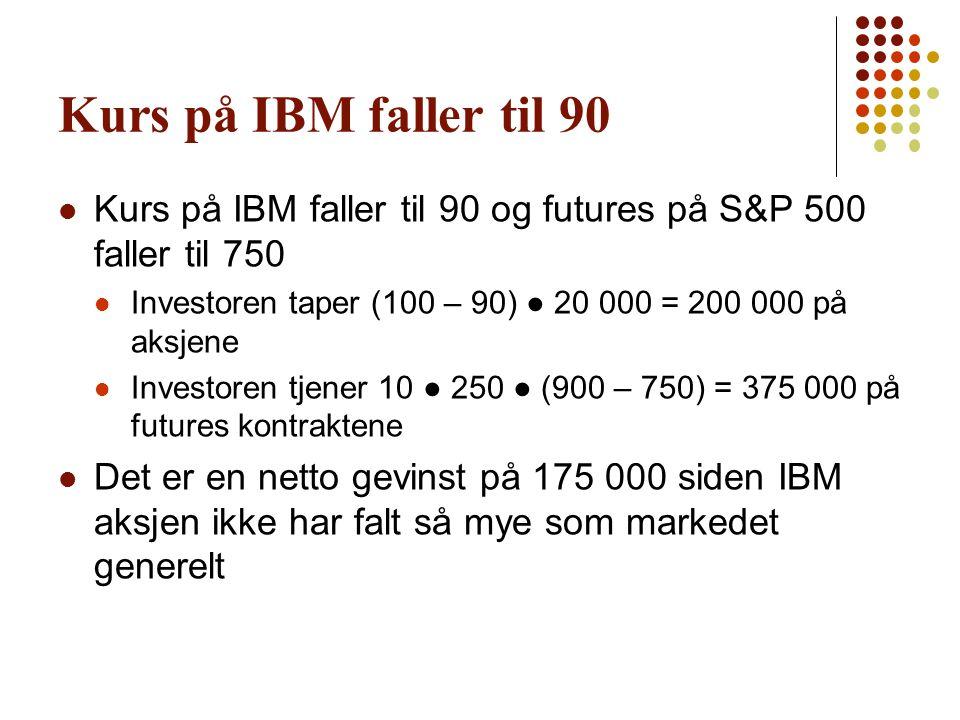 Kurs på IBM faller til 90  Kurs på IBM faller til 90 og futures på S&P 500 faller til 750  Investoren taper (100 – 90) ● 20 000 = 200 000 på aksjene