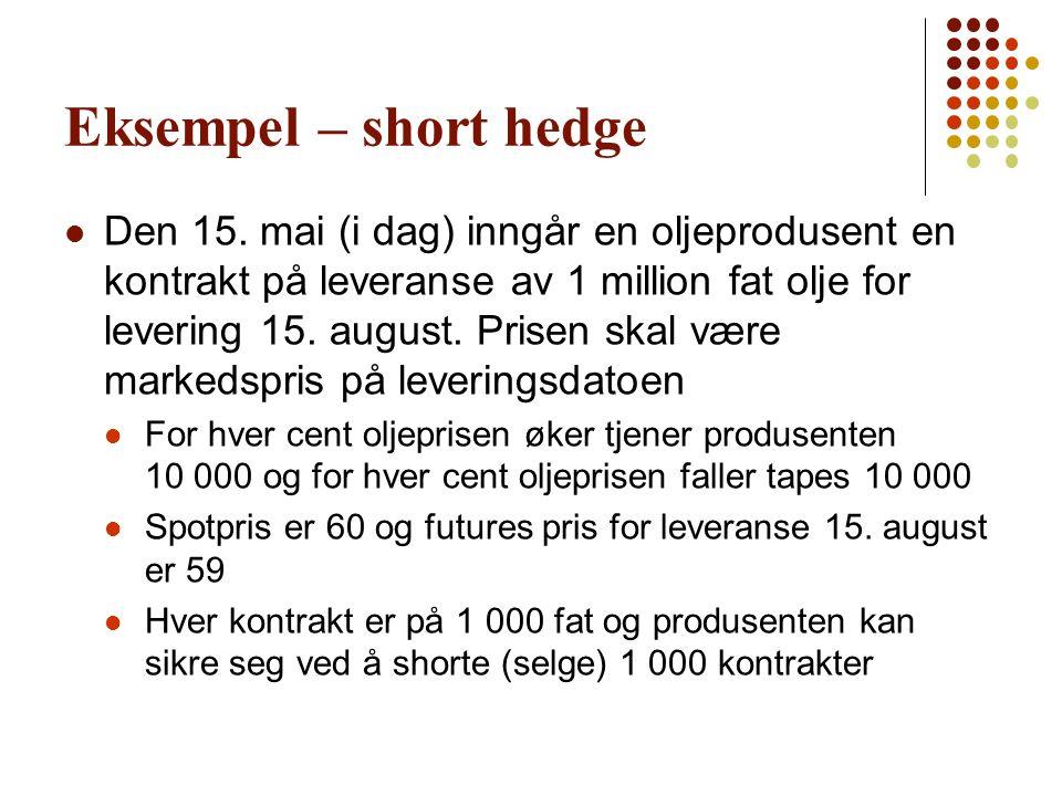 Eksempel – short hedge  Den 15. mai (i dag) inngår en oljeprodusent en kontrakt på leveranse av 1 million fat olje for levering 15. august. Prisen sk