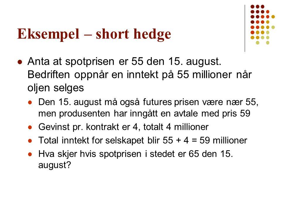 Eksempel – short hedge  Anta at spotprisen er 55 den 15. august. Bedriften oppnår en inntekt på 55 millioner når oljen selges  Den 15. august må ogs