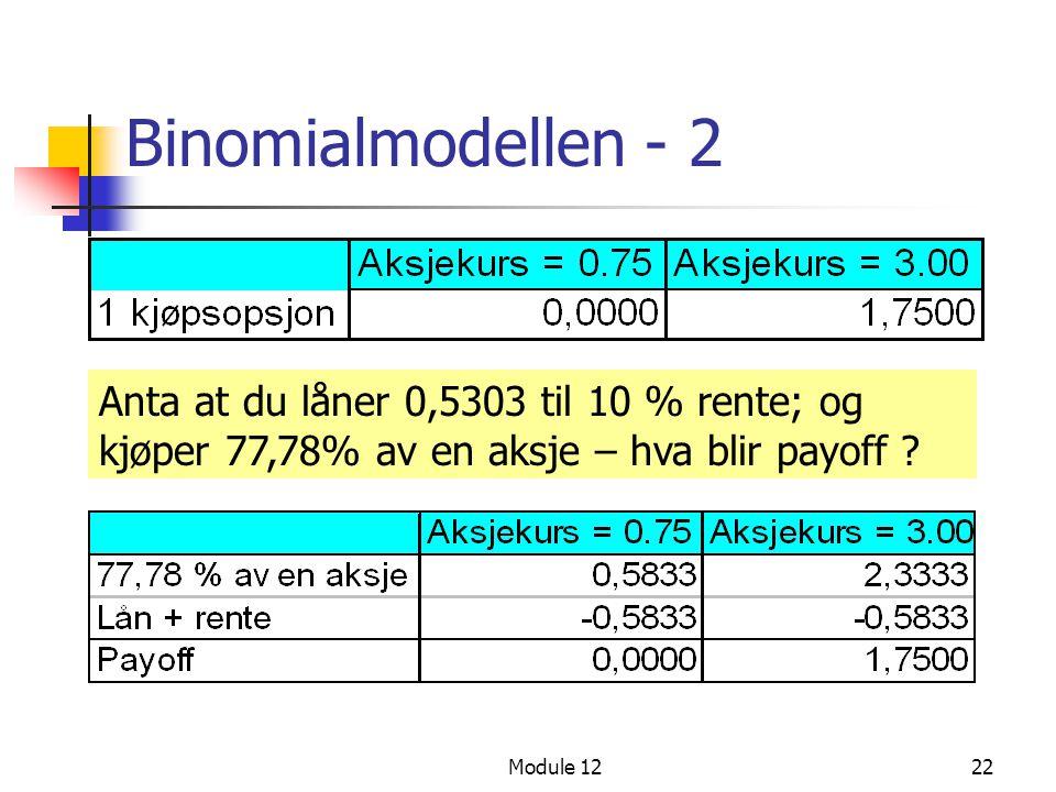 Module 1222 Binomialmodellen - 2 Anta at du låner 0,5303 til 10 % rente; og kjøper 77,78% av en aksje – hva blir payoff ?
