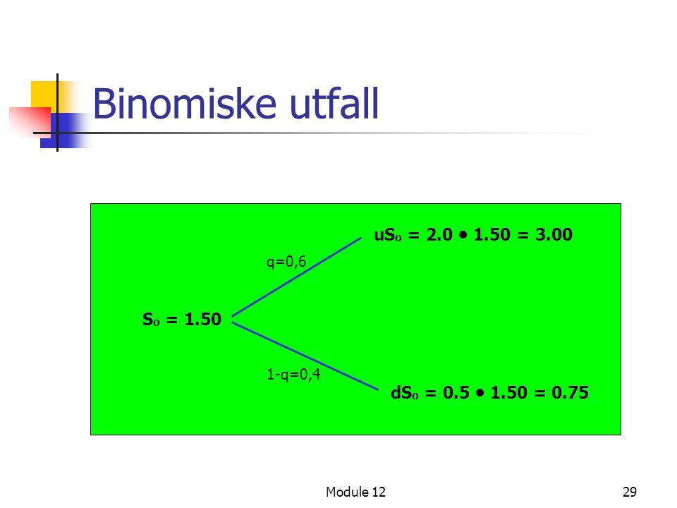 Module 1229 Binomiske utfall S o = 1.50 uS o = 2.0 • 1.50 = 3.00 dS o = 0.5 • 1.50 = 0.75 q=0,6 1-q=0,4