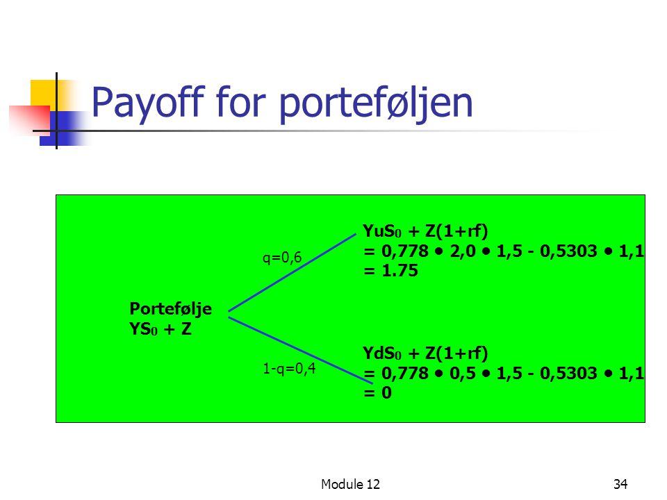 Module 1234 Payoff for porteføljen Portefølje YS 0 + Z YuS 0 + Z(1+rf) = 0,778 • 2,0 • 1,5 - 0,5303 • 1,1 = 1.75 q=0,6 1-q=0,4 YdS 0 + Z(1+rf) = 0,778