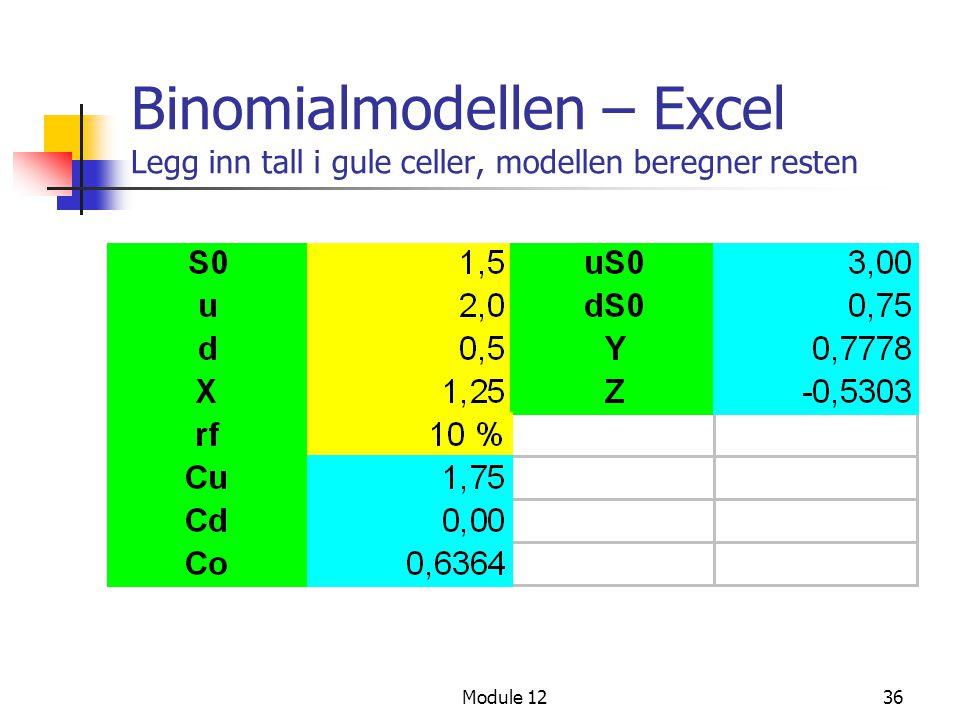 Module 1236 Binomialmodellen – Excel Legg inn tall i gule celler, modellen beregner resten