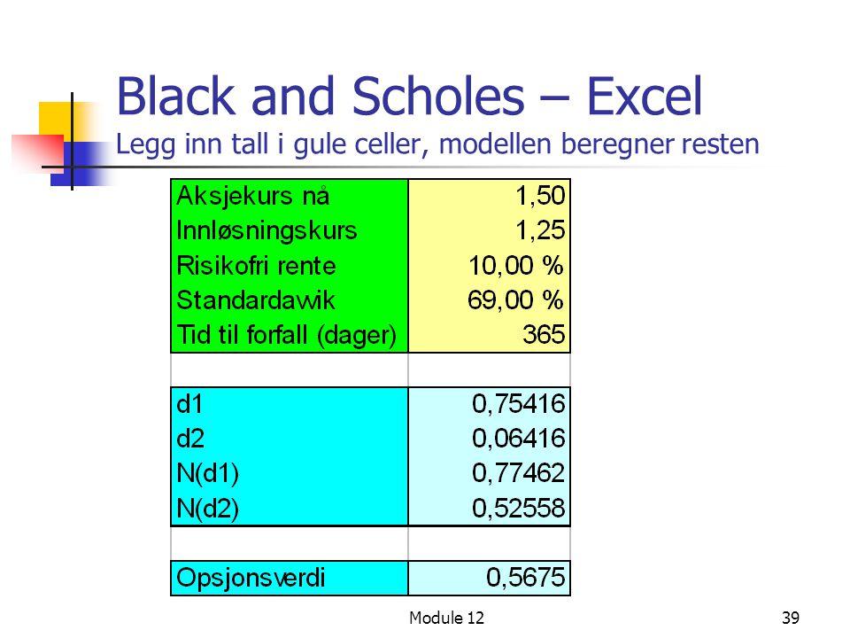 Module 1239 Black and Scholes – Excel Legg inn tall i gule celler, modellen beregner resten