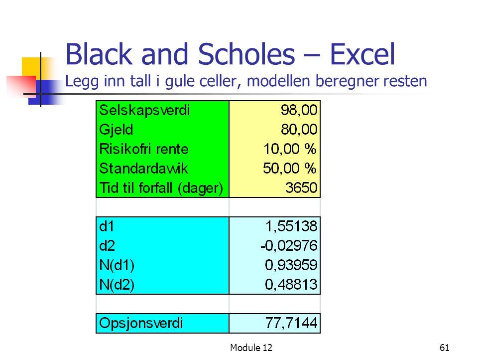 Module 1261 Black and Scholes – Excel Legg inn tall i gule celler, modellen beregner resten