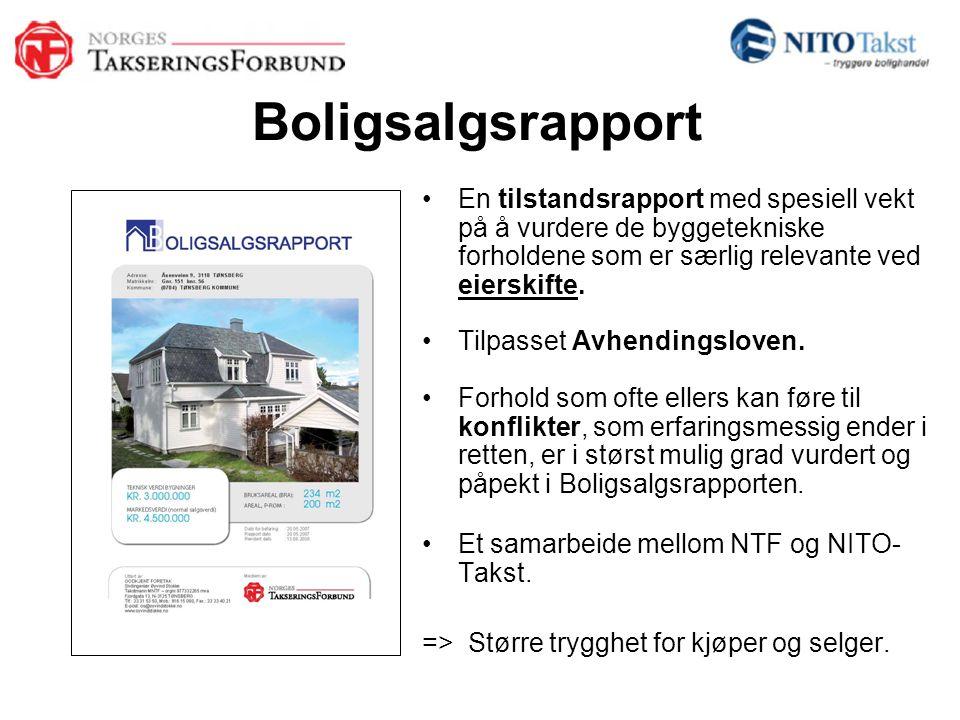 Boligsalgsrapport •En tilstandsrapport med spesiell vekt på å vurdere de byggetekniske forholdene som er særlig relevante ved eierskifte. •Tilpasset A