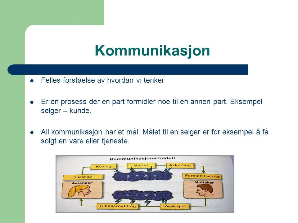 De ulike delene i Kommunikasjonsmodellen • Avsenderen i modellen er den som vil si noe • Avsenderen sender ut budskap • Budskapet blir formulert og kodet • Vi bruker enten personlig kommunikasjon eller ikke personlig kommunikasjon • Mottakeren avkoder og forstår budskapet